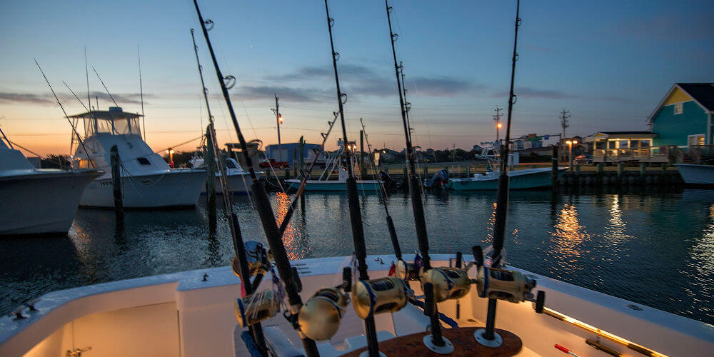 Evening picture of Longer Days rods and reel selections on our way to the boat slip at Teach's Lair Marina Hatteras NC.